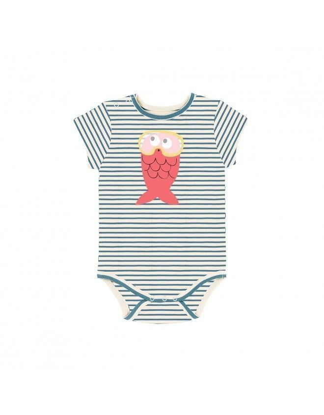 Fleur de coton Bio - Gap : Body rayé poisson rose